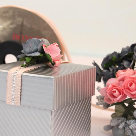 Gümüş çizgili küp kutu